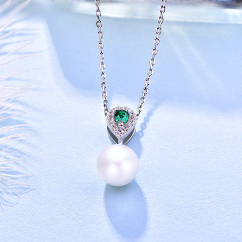 Farjary 925 Silver Medium 8MM Pearl and TearDrop Shape Pendant Necklace