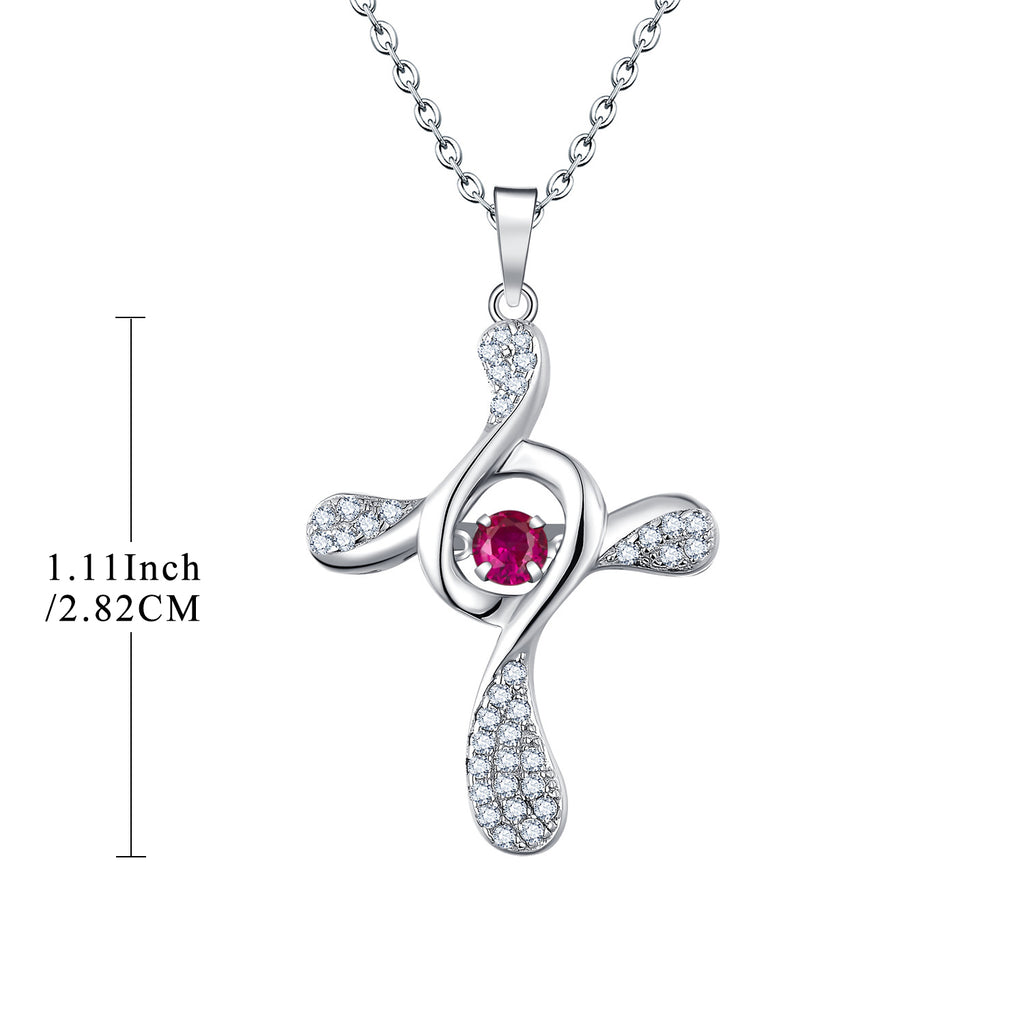 Sterling Silver Red Corundum Cross Necklace