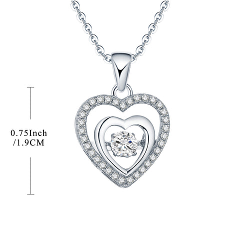 Sterling Silver Dancing Topaz Double Heart Necklace