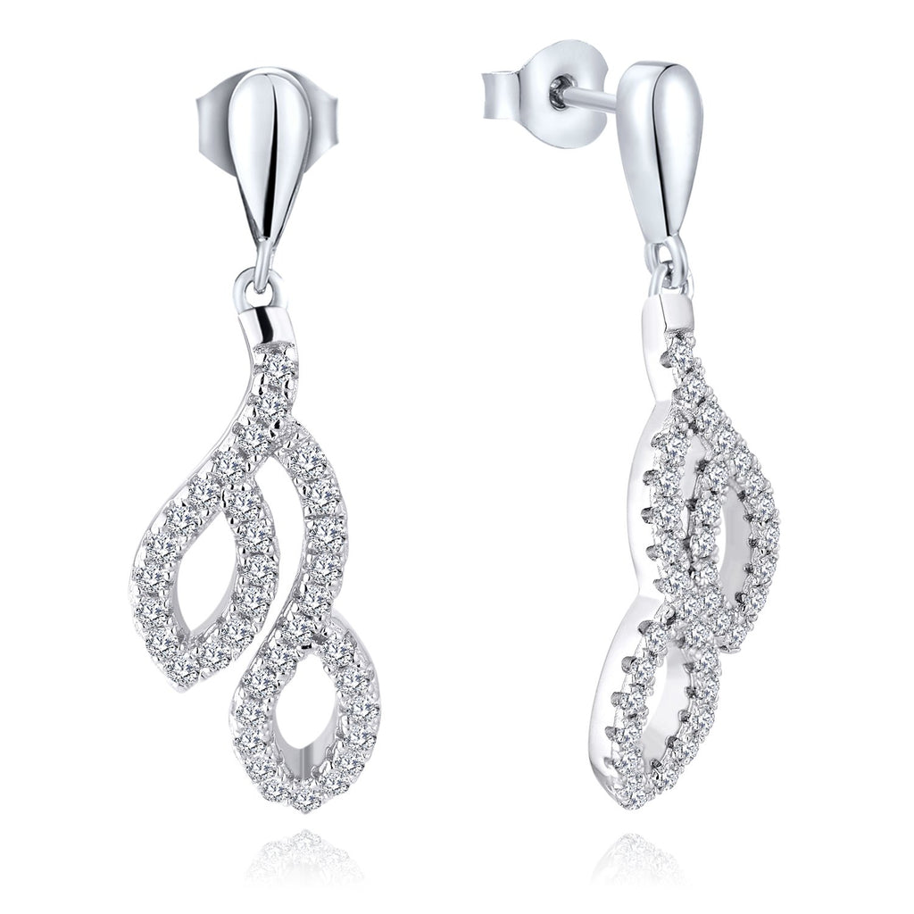 Farjary Women's Classic 14K White Gold Leaves Drop Earrings with 0.51cttw Round Brilliant Diamond