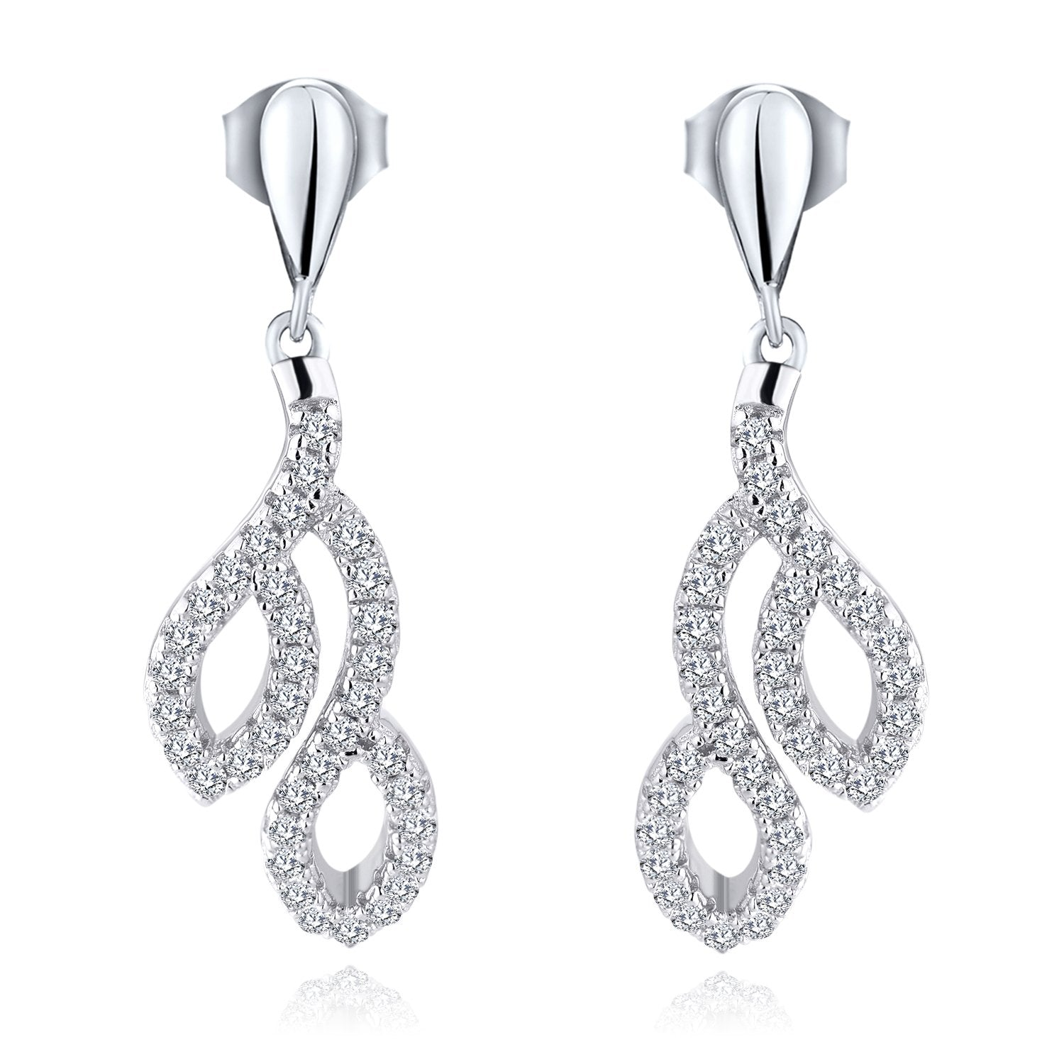 Farjary Women's Classic 9K White Gold Leaves Drop Earrings with 0.51cttw Round Brilliant Diamond