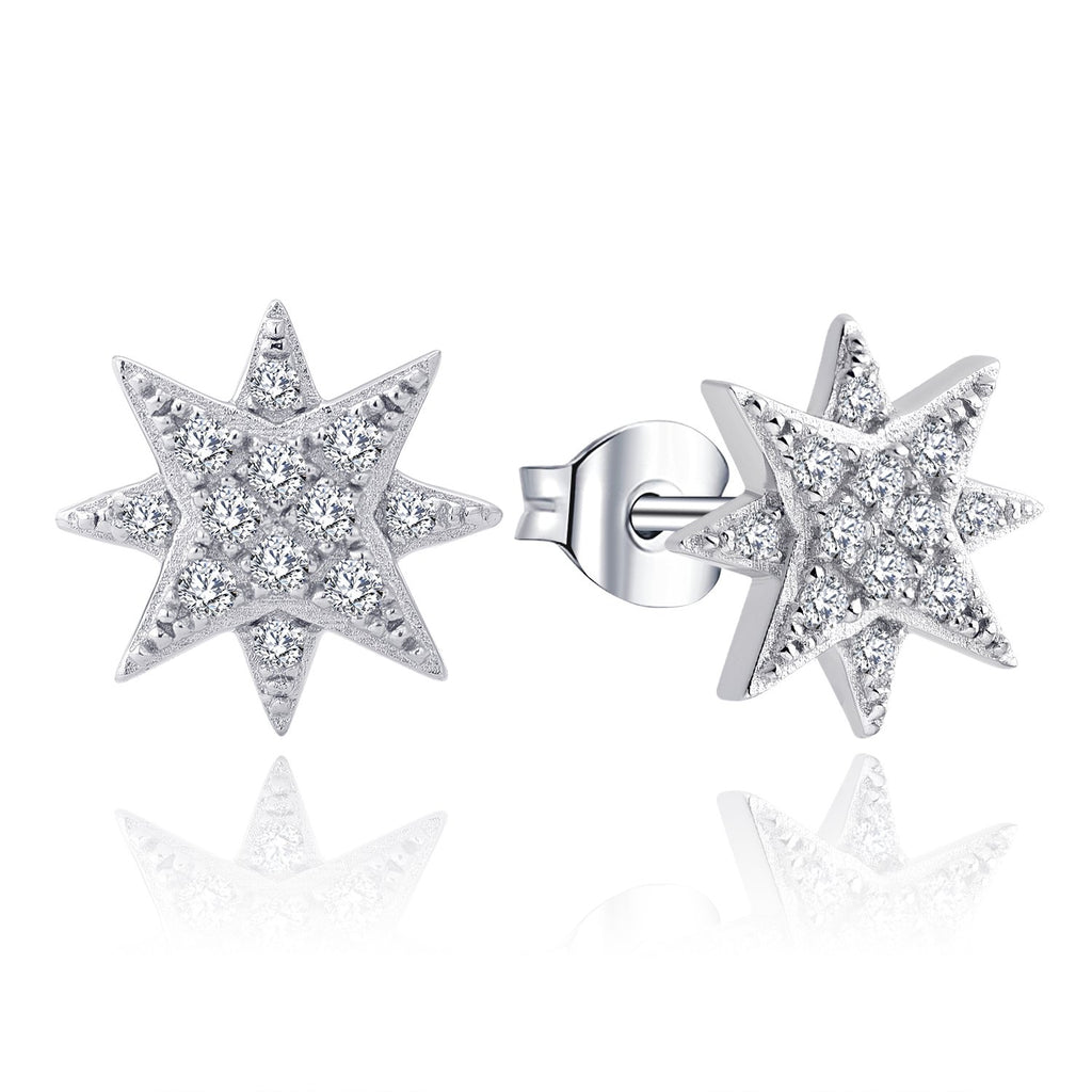 Farjar 14K White Gold North Star Stud Earrings with  0.17cttw Diamond