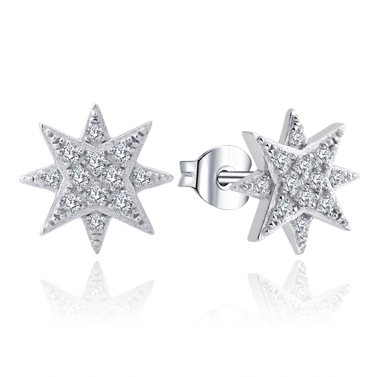 Farjar Classic 9K White Gold North Star Stud Earrings with  0.17cttw Round Diamond