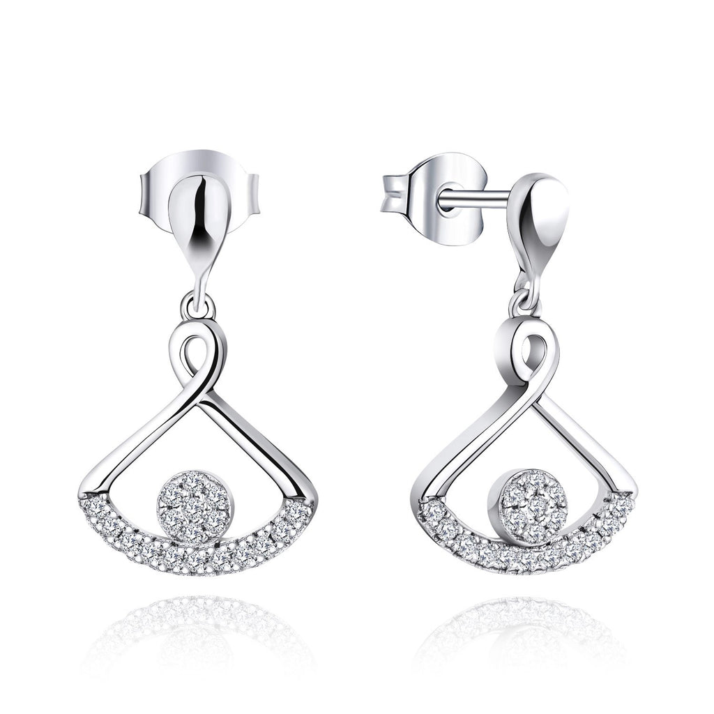 Farjar Women's Classic 14K White Gold Fan-Shape Drop Earrings with Natural Diamond