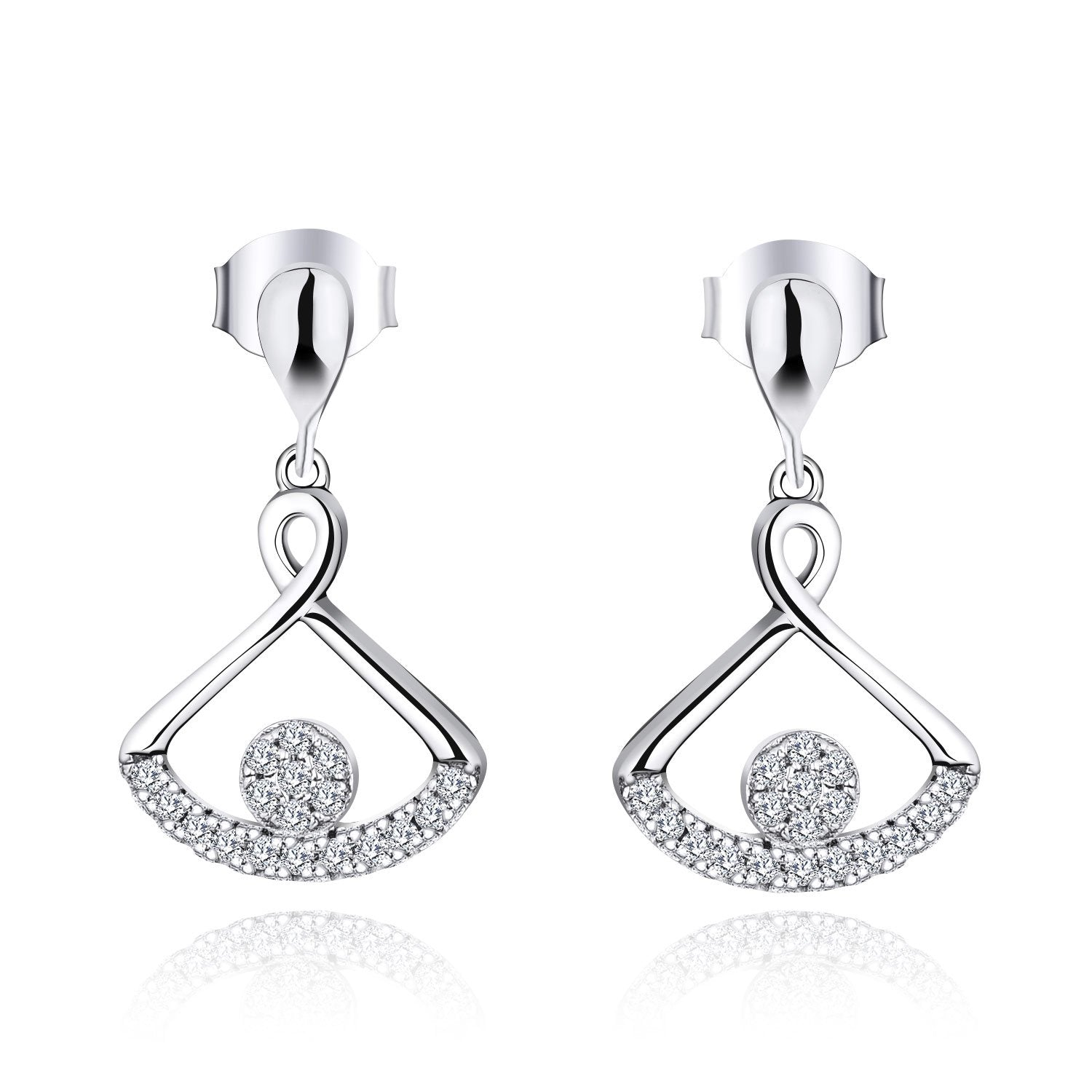 Farjar Women's Classic 9K White Gold Fan-Shape Drop Earrings with Natural Diamond