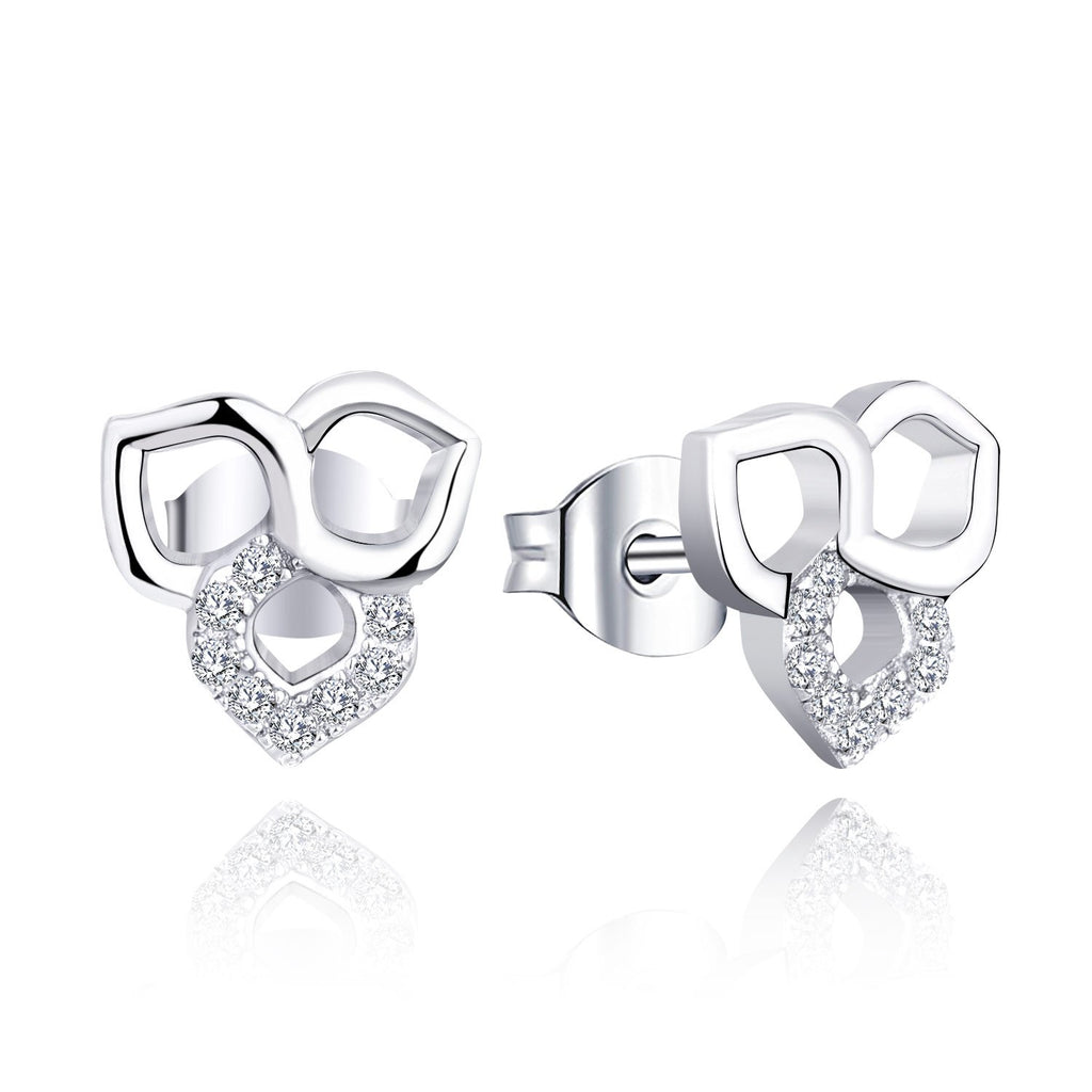 Farjary Fashion Trefoil Stud Earrings with 0.11cttw Diamond (14K White Gold )