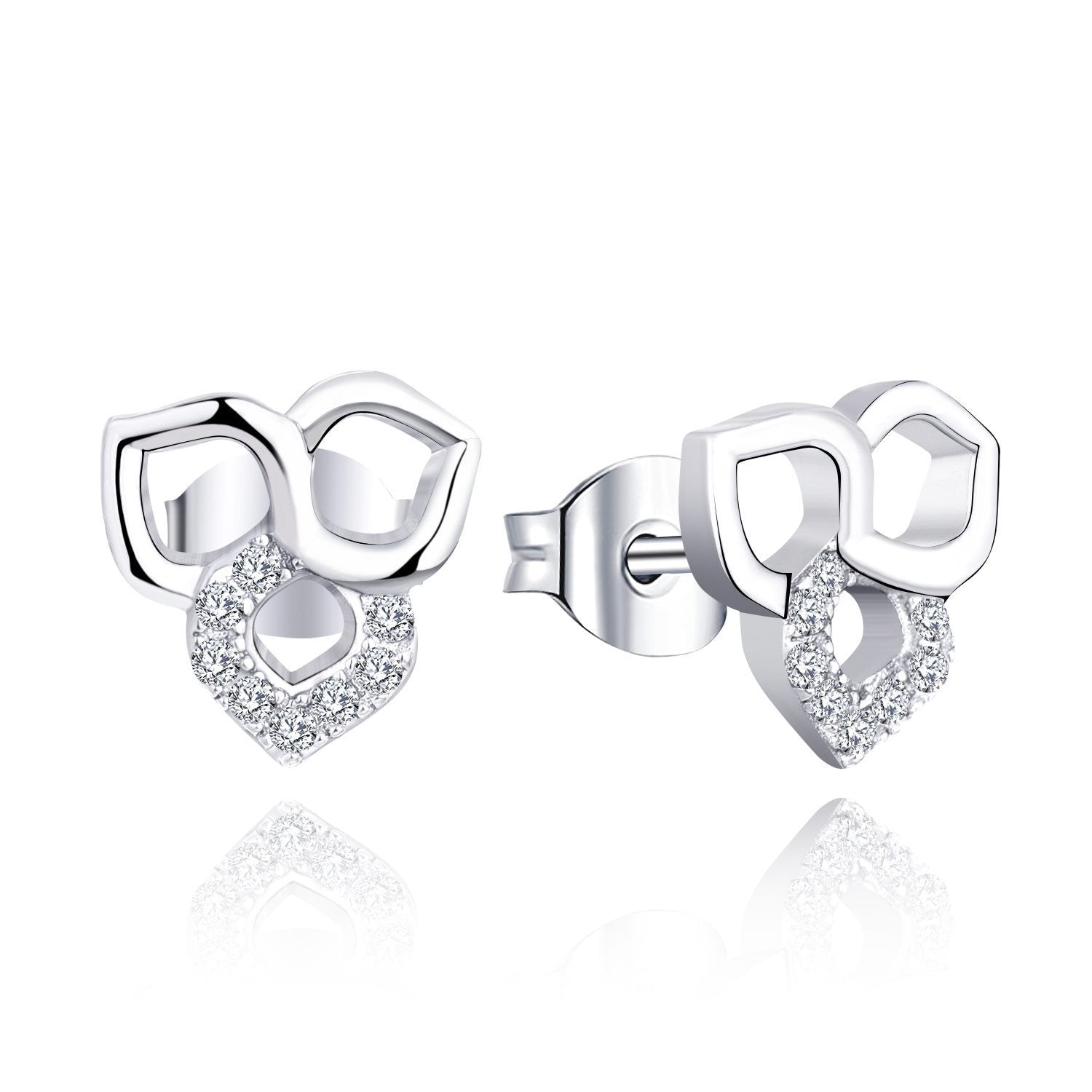 Farjary Fashion Trefoil Stud Earrings with 0.11cttw Diamond (9K White Gold )