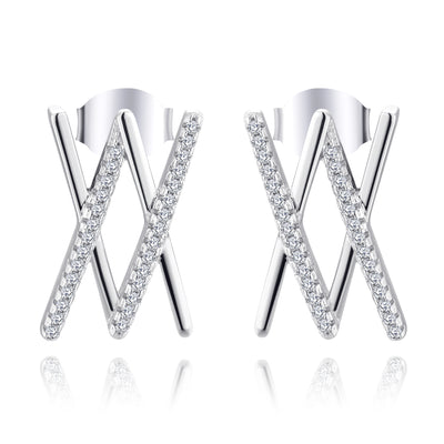 Farjary Fashion Ladies Double X Stud Earrings with 0.3cttw Diamonds in 14K White Gold