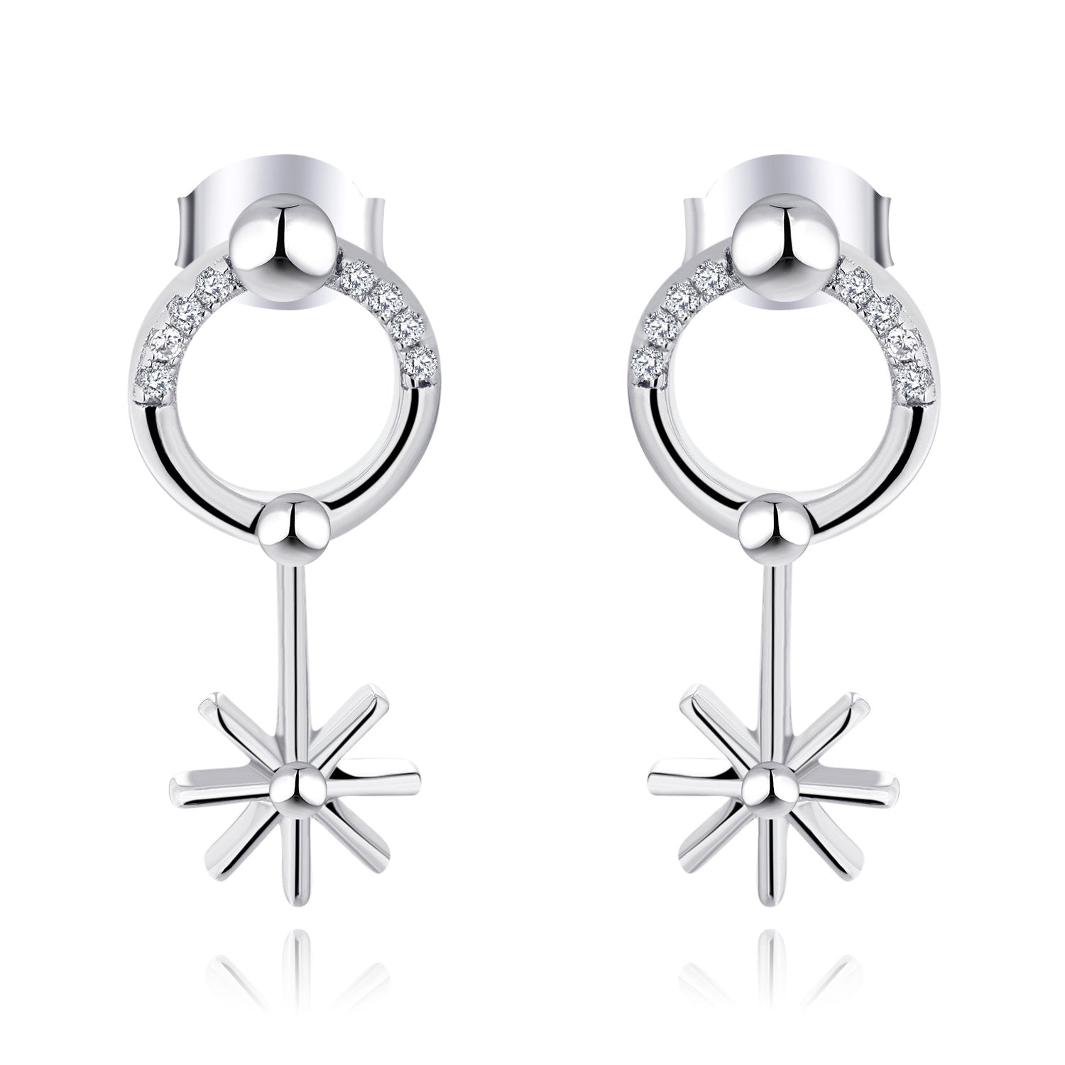 Farjary 9K White Gold Firework Dangle Earrings with Diamond