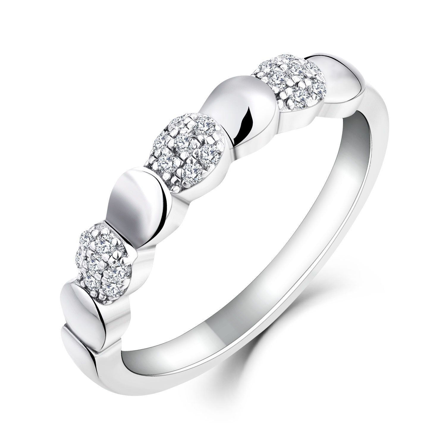 Farjary 9K White Gold Ring with 0.15cttw Diamond