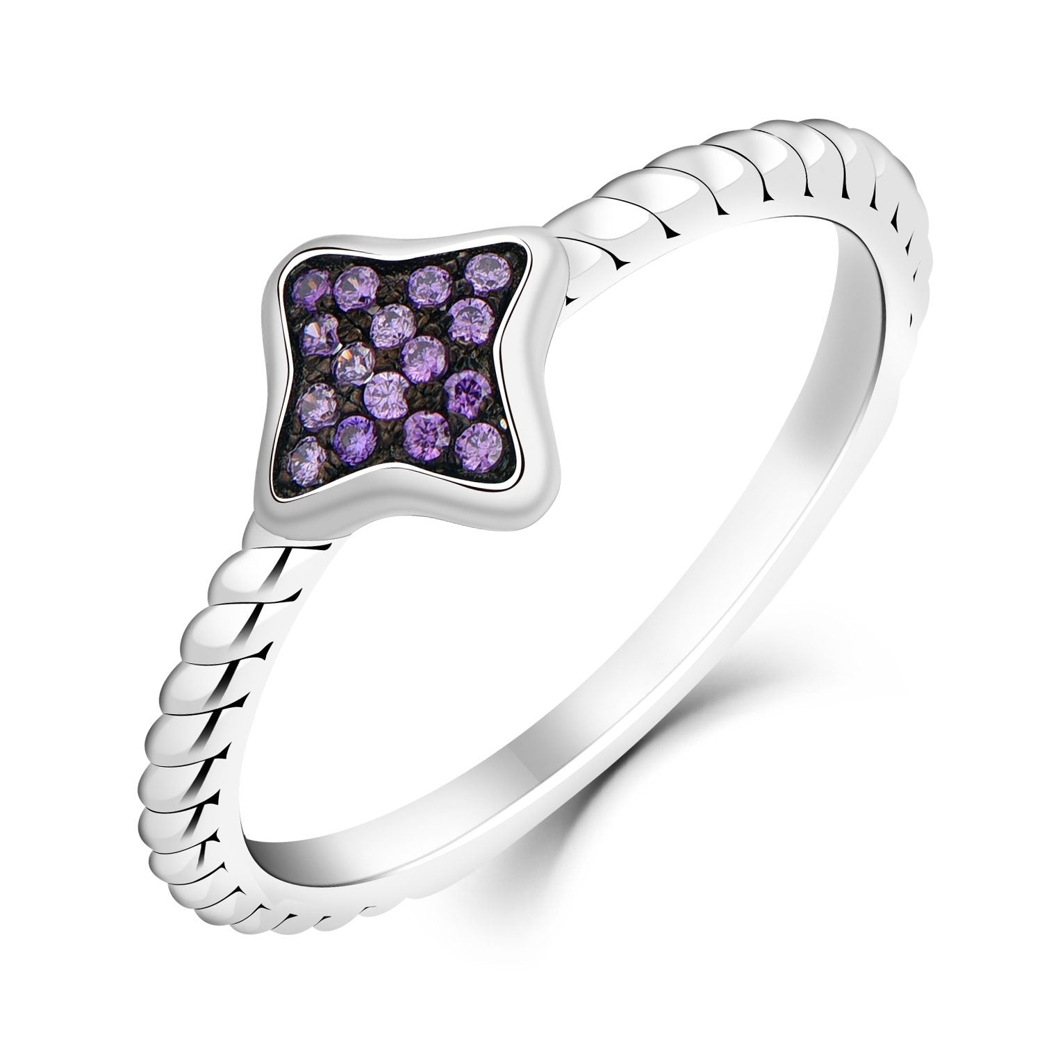 Farjary 9K White Gold Amethyst Diamond Ring