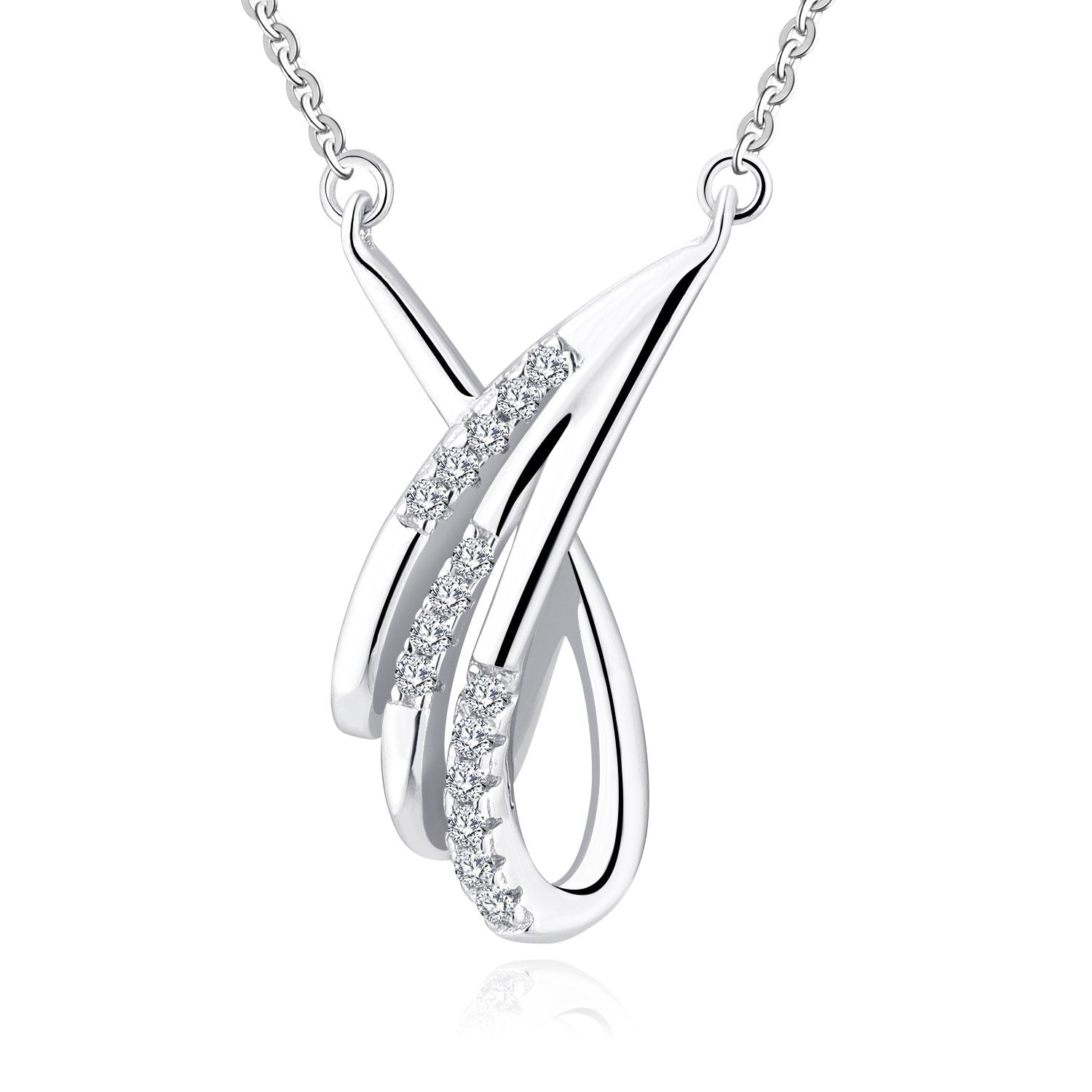 Farjary Jewelry Women's Fashion 9K White Gold Angle Wing with 3 Line Diamond