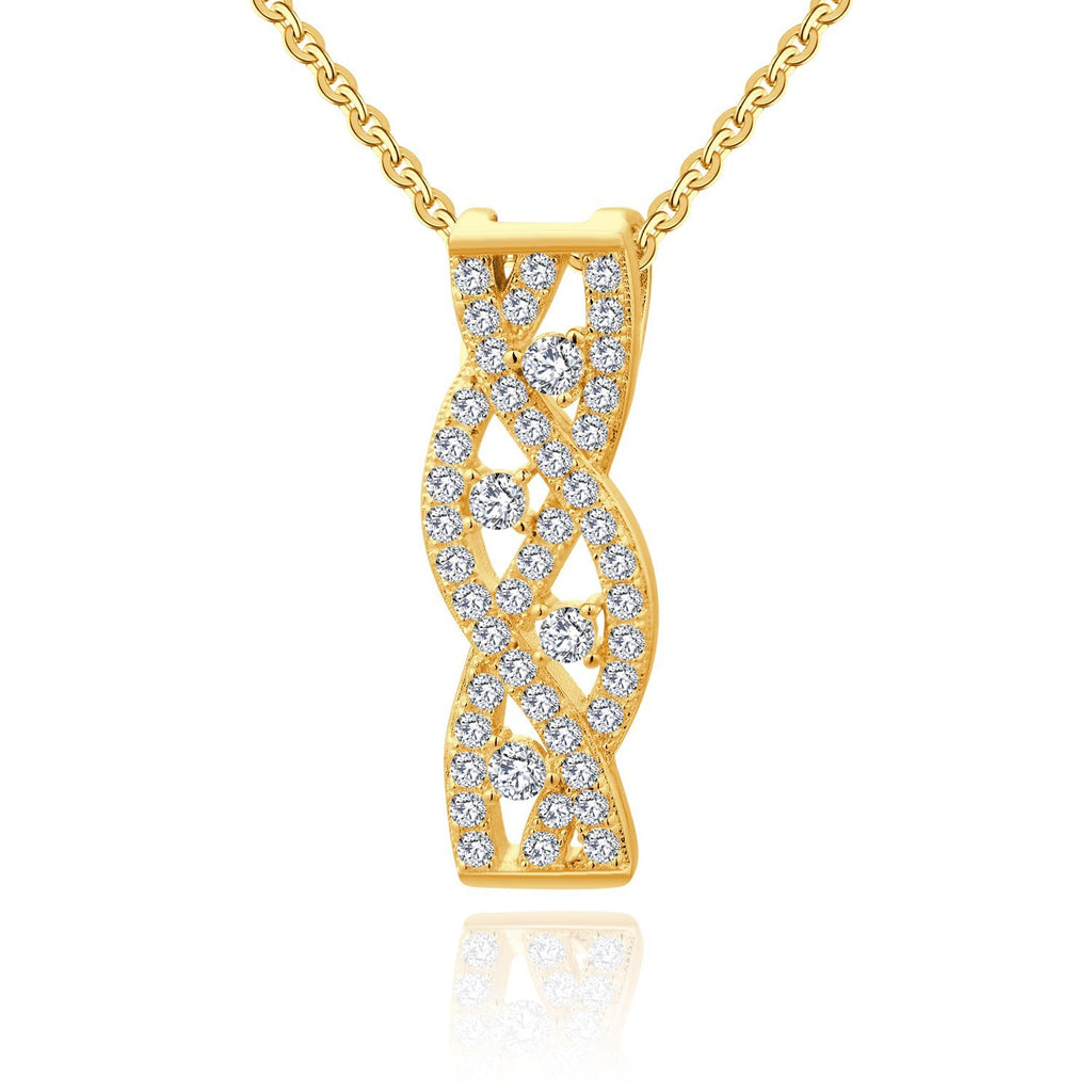 Farjary Jewelry 14K Yellow Gold Twisted Pendant necklace with 0.34cttw Brilliant Diamond