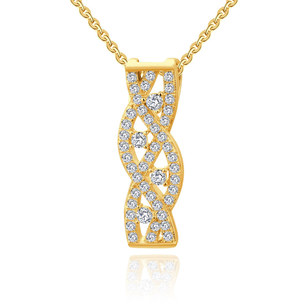 Farjary Jewelry 9K Yellow Gold Twisted Pendant necklace with 0.34cttw Brilliant Diamond