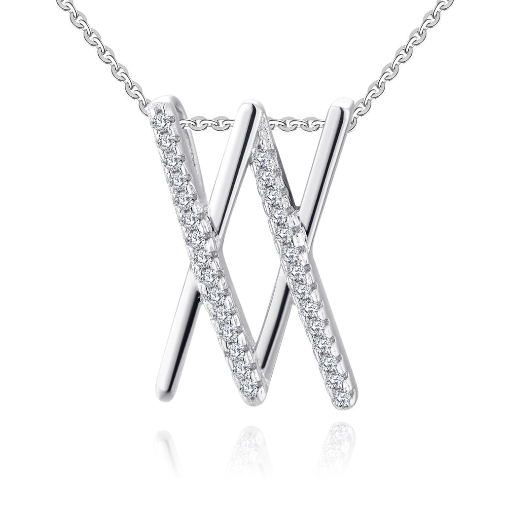 Farjary Fashion Ladies Double X Pendant Necklace with 0.2cttw Diamonds in 9K White Gold