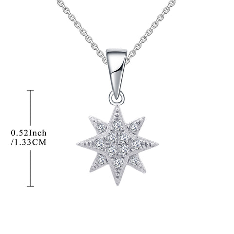 FJ 9K White Gold North Star Necklace with 0.12cttw Round Diamond