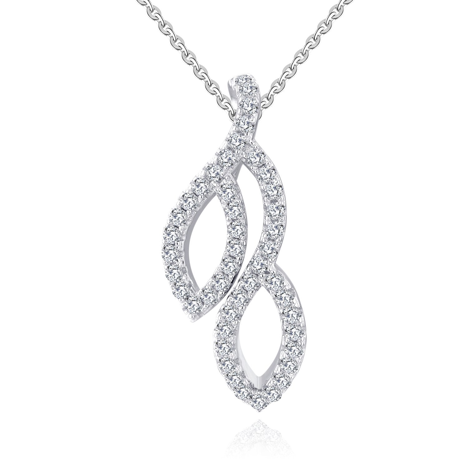 Farjary Classic 9K White Gold Leaves Pendant with 0.26cttw Round Brilliant Diamond for Women Gift