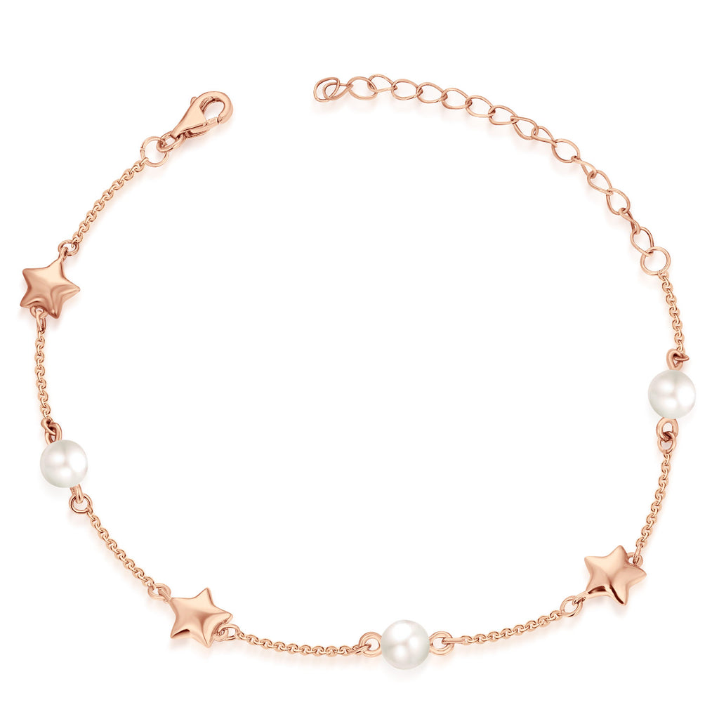 Farjary Elegant 9K Rose Gold Stars and 9K White freshwater Pearls bracelet for women