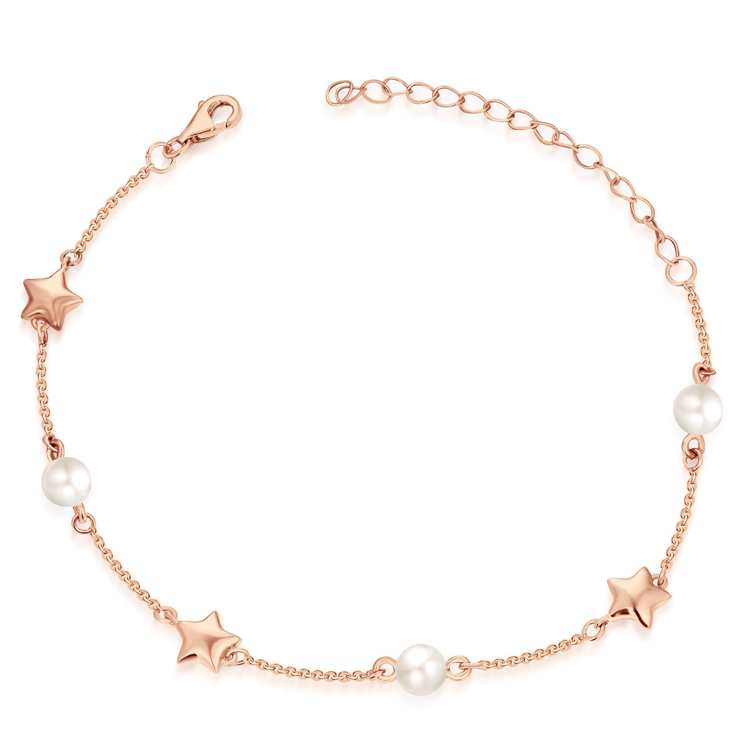 Farjary Elegant 14K Rose Gold Stars and 9K White freshwater Pearls bracelet for women