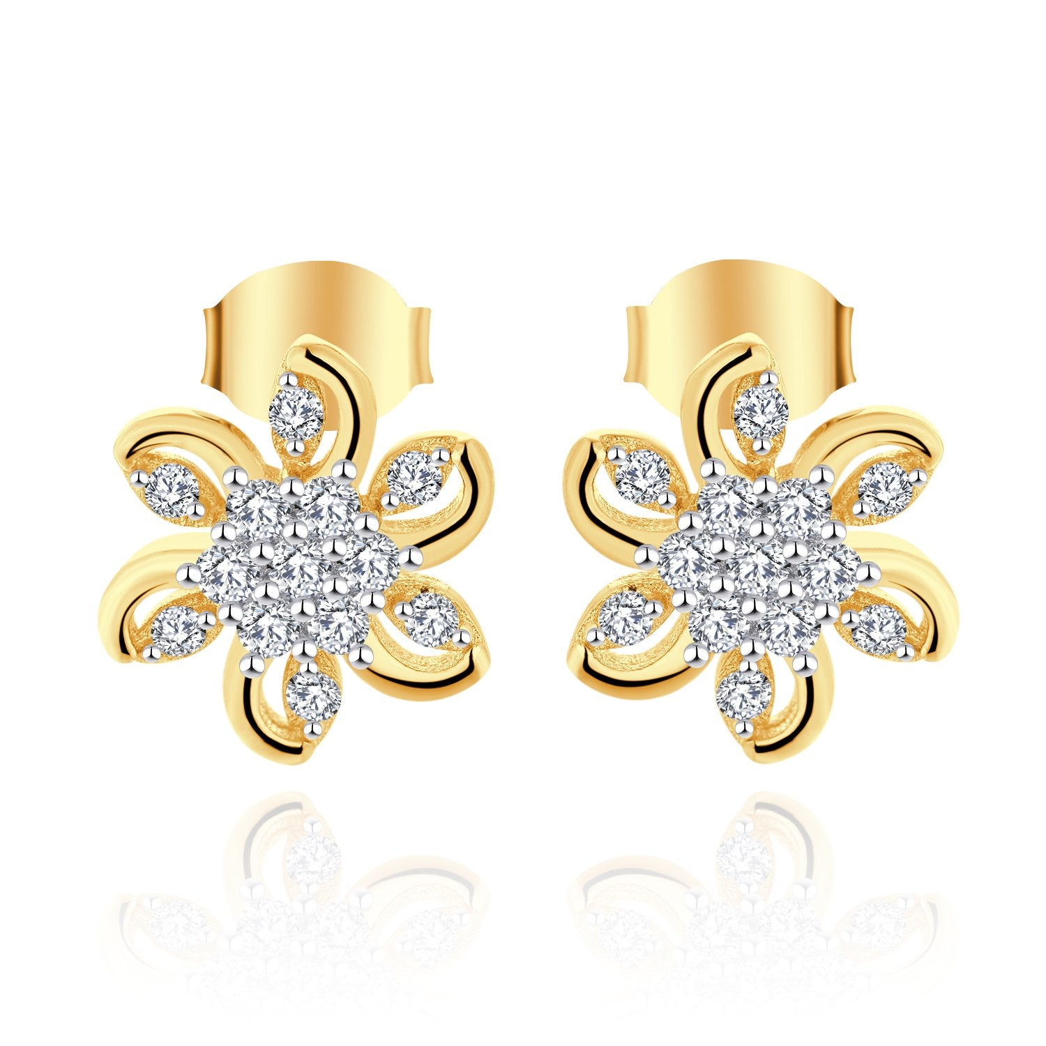 Farjary Ladies Elegant 9K Yellow Gold  Flower Stud Earrings with 0.21cttw Round Brilliant Diamond
