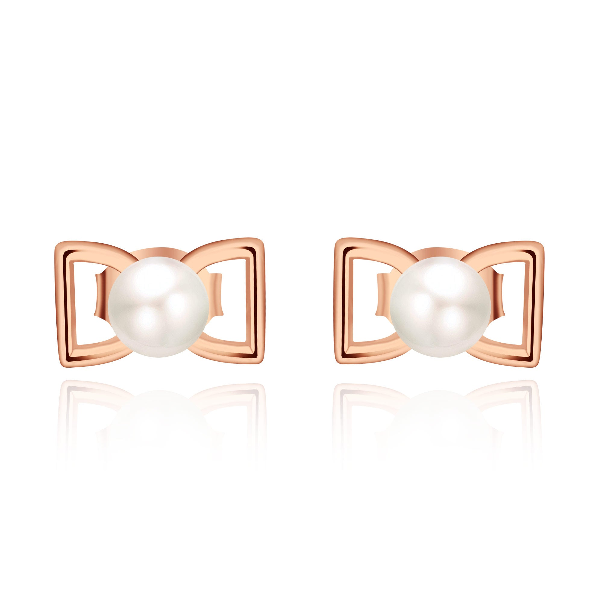 Farjar Elegant 5.0 MM White Freshwater Pearl Bow Stud Earrings 9K Rose Gold