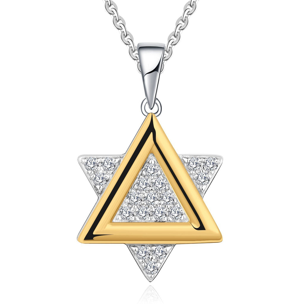 Farjar 9K White and Yellow Gold Hexagram Necklace with 0.14cttw Natural Diamond