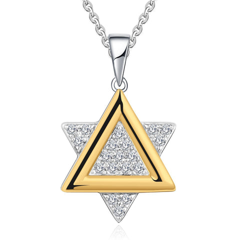 Farjar 14K White and Yellow Gold Fashion Hexagram Necklace with 0.14cttw Natural Diamond