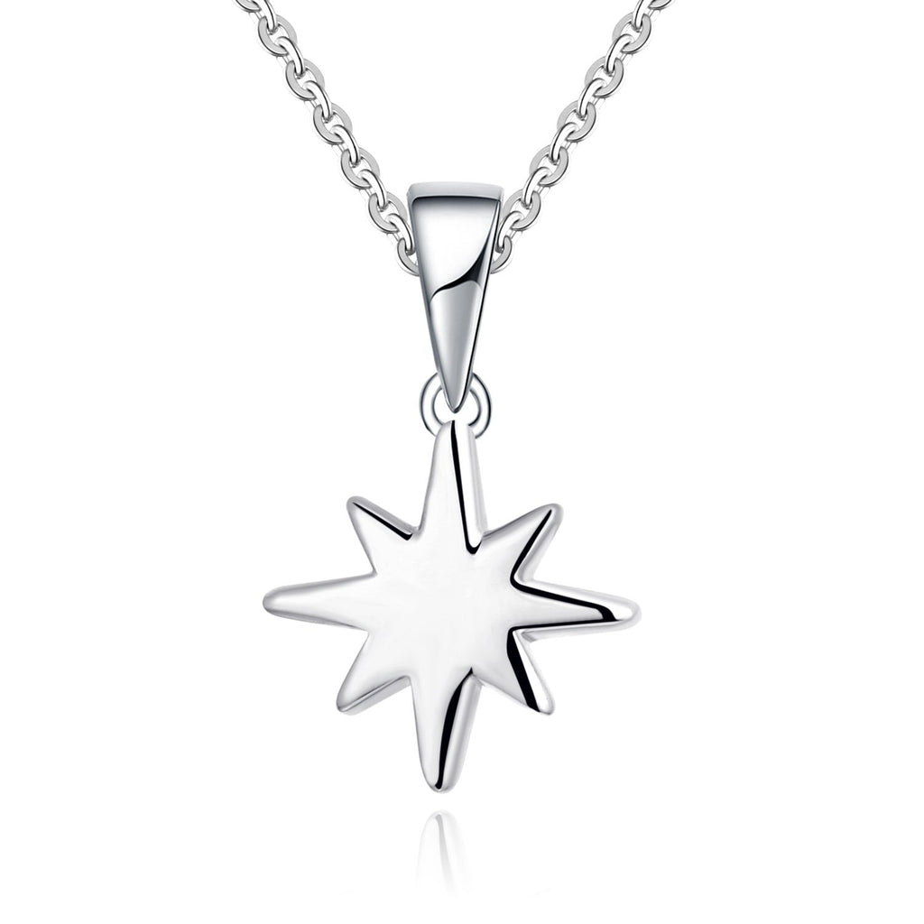 Farjar Classic 9K White Gold Firework Star Necklace in Rice Character