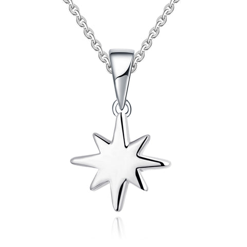 Farjar Classic 14K White Gold Firework Star Necklace in Rice Character