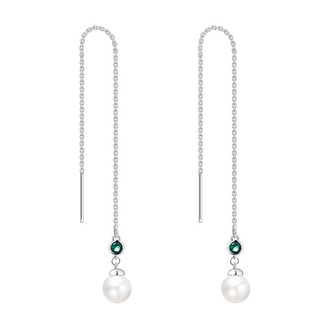 Farjary 925 Silver Medium Long Chain Earrings With Created Emerald And 8MM Pearl