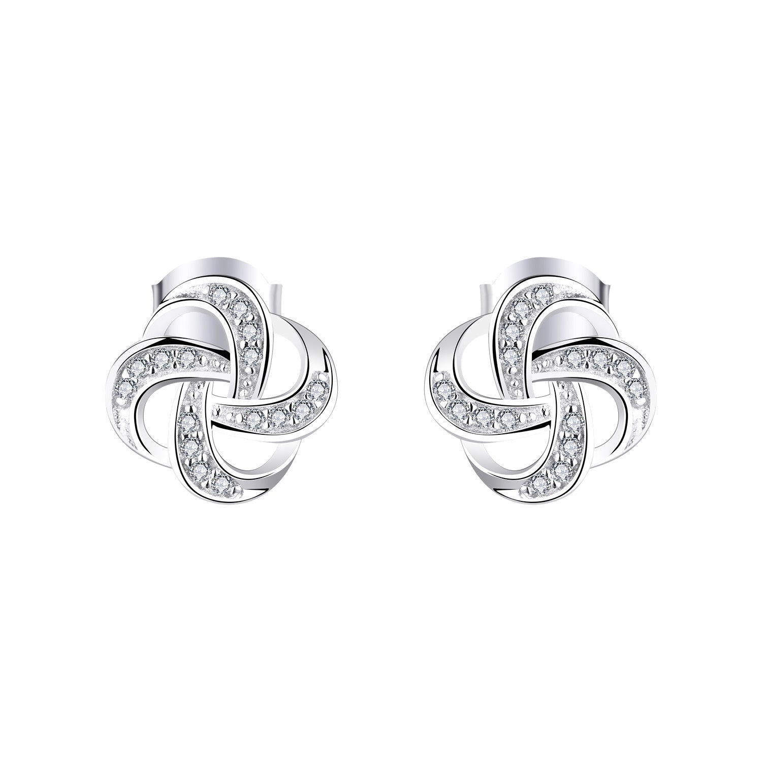 Farjary 925 Sterling Silver Knot Earrings With AAA CZ Wind Shape