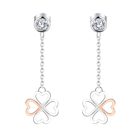 Farjary 925 Silver Medium 4 Leaf Clover Drop Earrings In Rose Gold and Silver