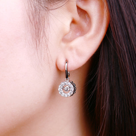 Channel-Set Dancing Topaz Flower Drop Earring With Halo