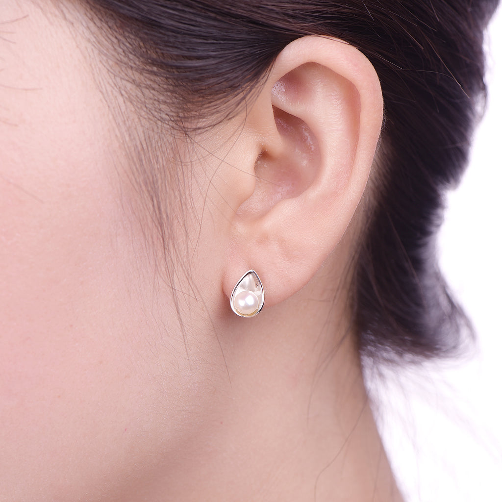 Sterling Silver Pearl Stud Earrings Teardrop Design