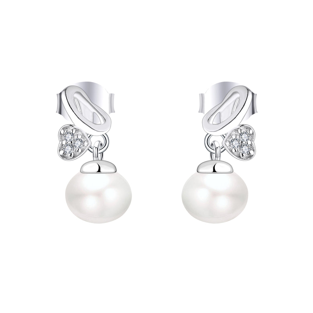 Farjary Pearl Jewelry Solid 925 Silver Butterfly With 9MM Drop Earrings