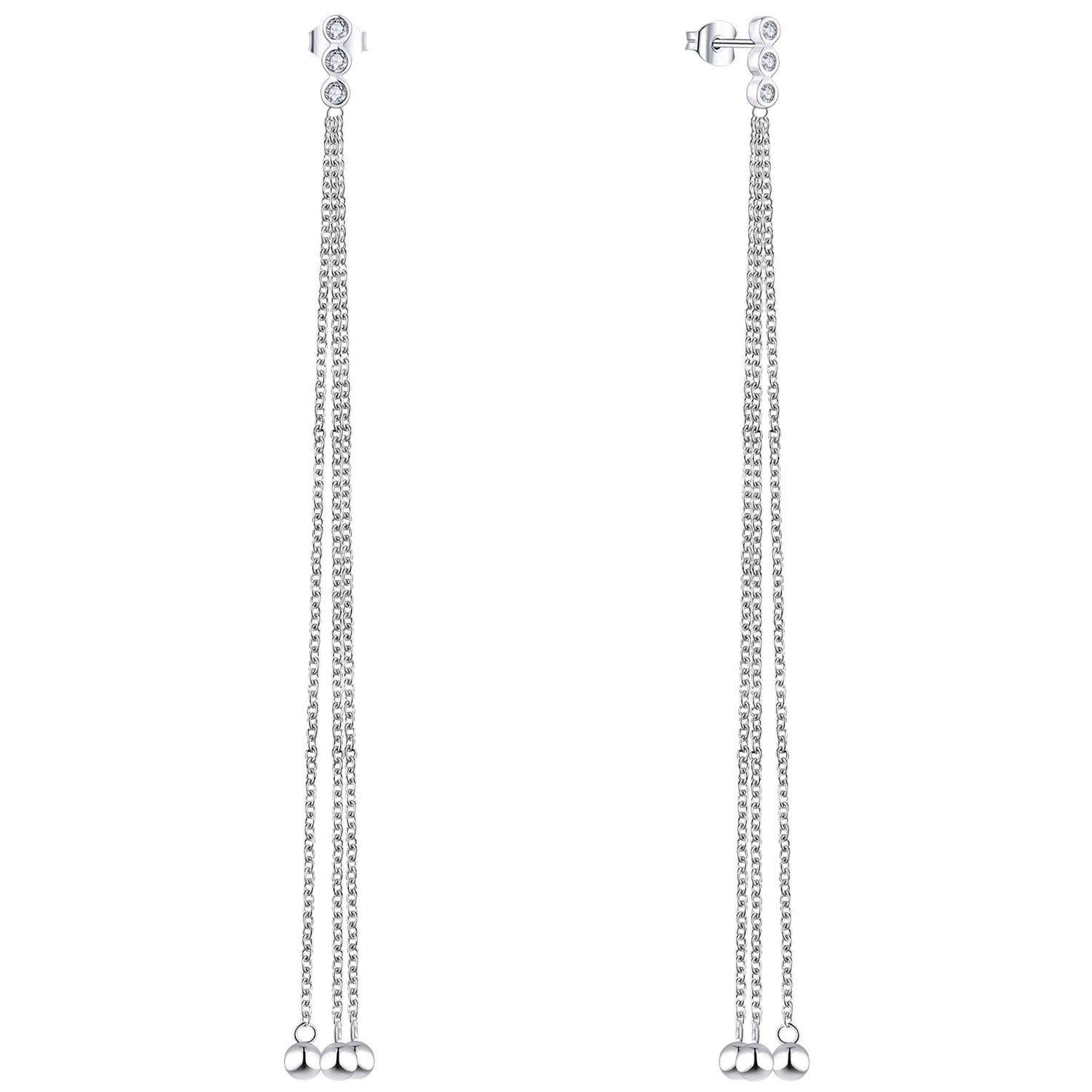 Farjary 925 Sterling Silver Tassel Long Chain Dangle Earrings