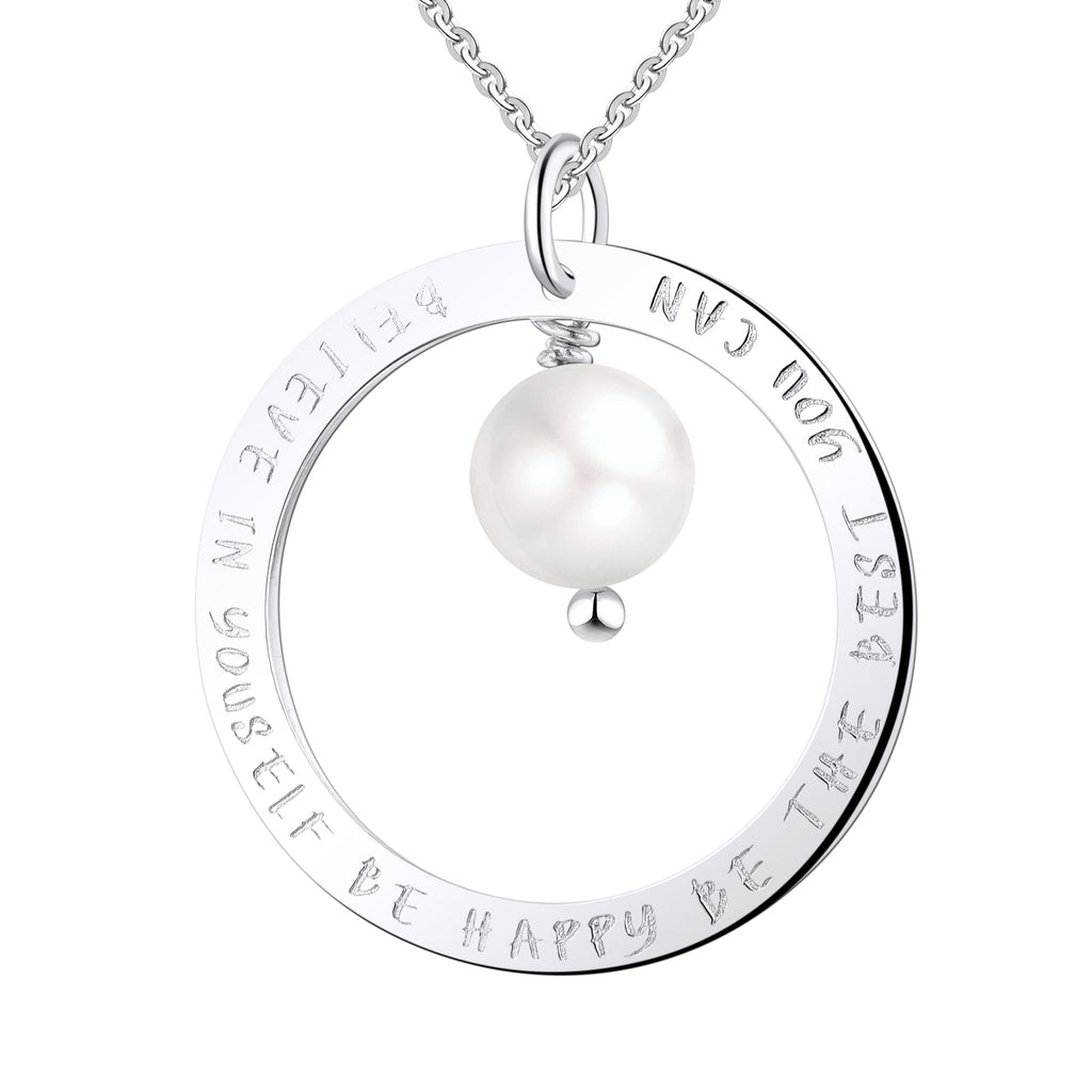 Farjary 925 Sterling Silver Circle Inspirational Necklace With 8MM Pearl