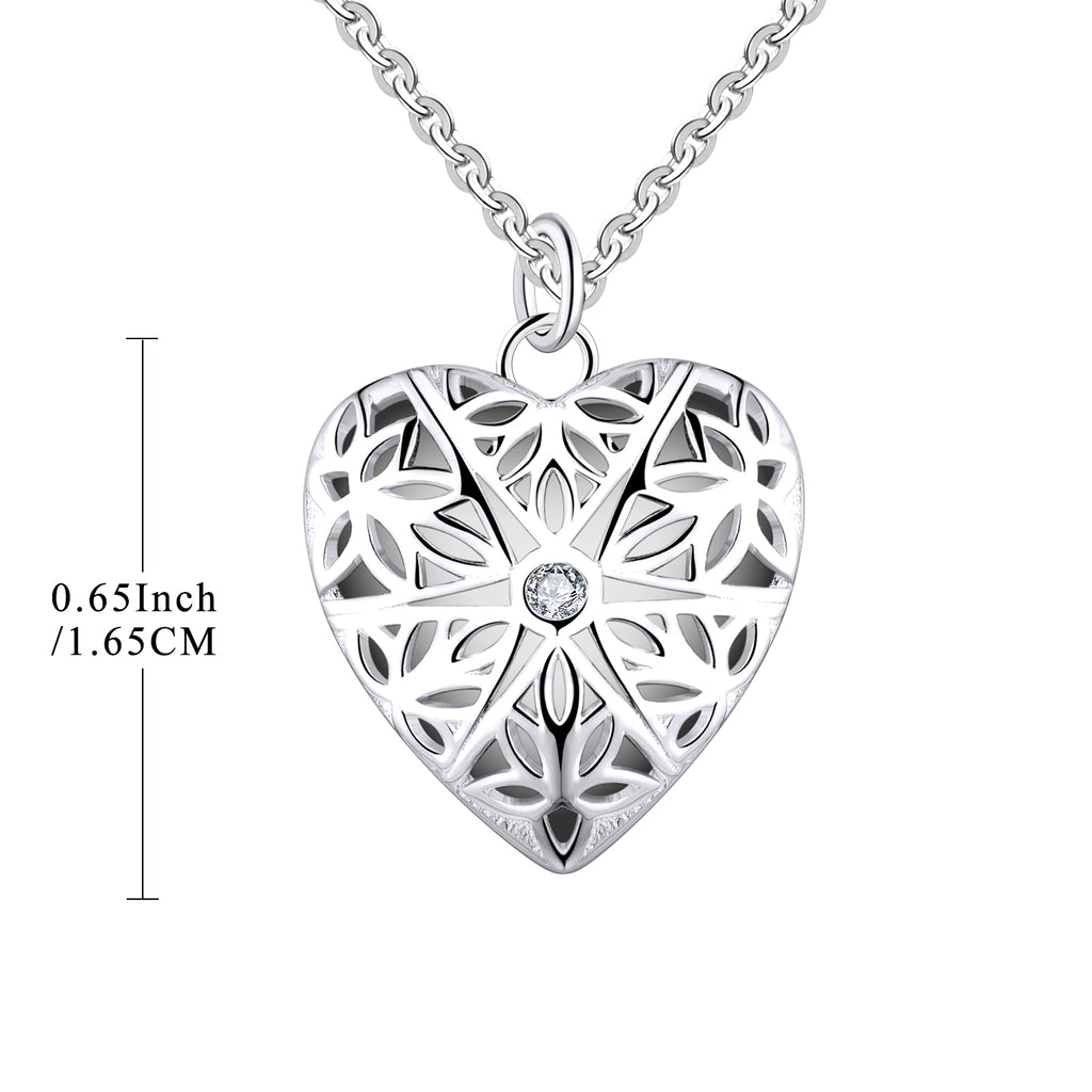Farjary 925 Silver Medium Hollow Heart Shape Locket Pendant With CZWith 18 Inch Necklace