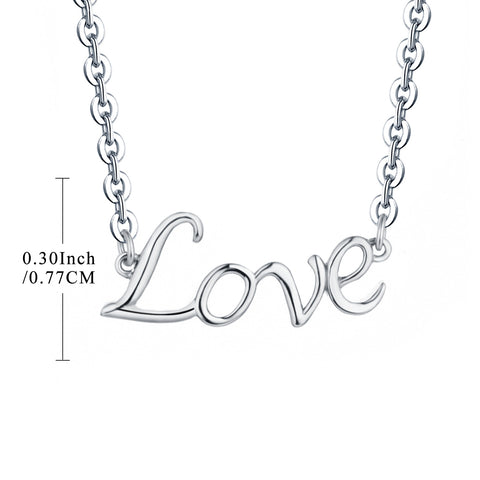 Sterling Silver LOVE Necklace Word Design