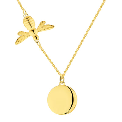 Farjary Women's 18k Yellow Gold Plated Bee Locket Pendant Necklace