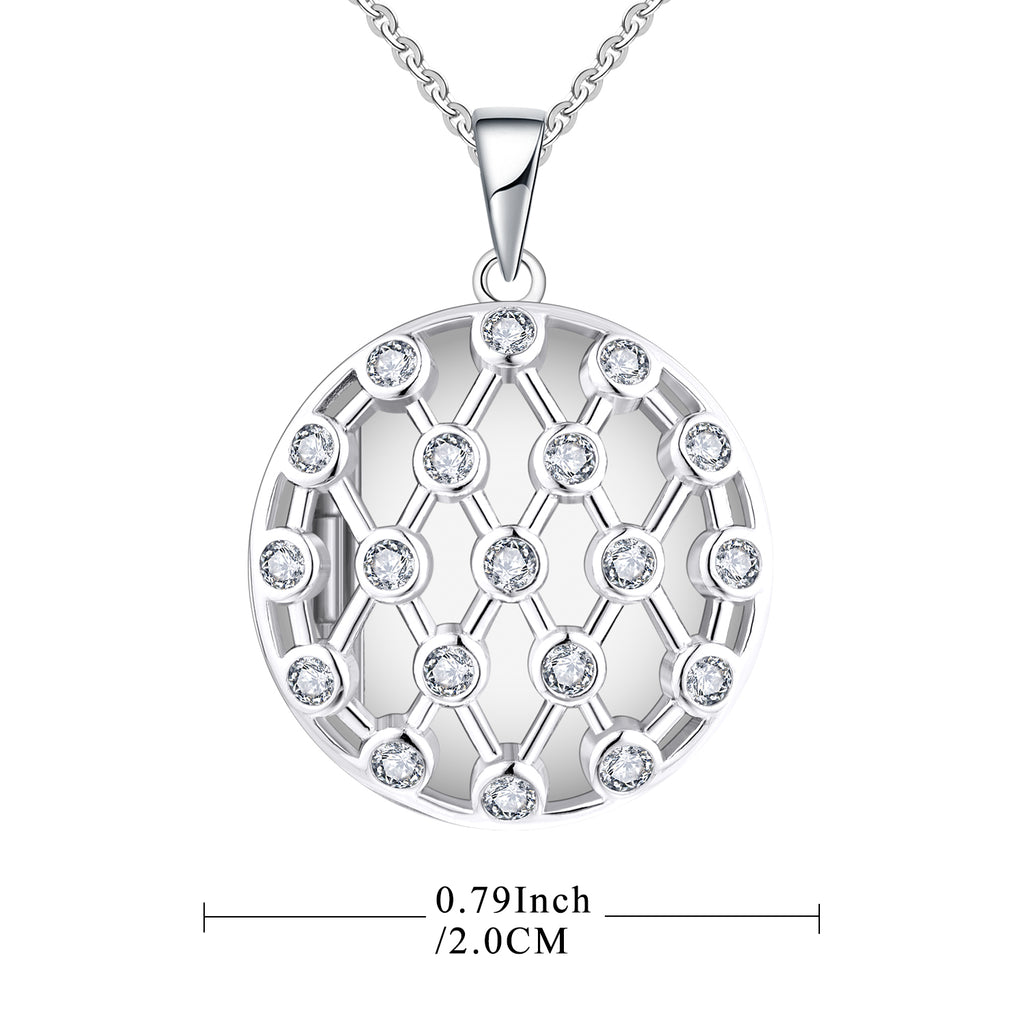 Farjary Solid 925 Silver Hollow Round Shape With Reticulated Locket Pendant