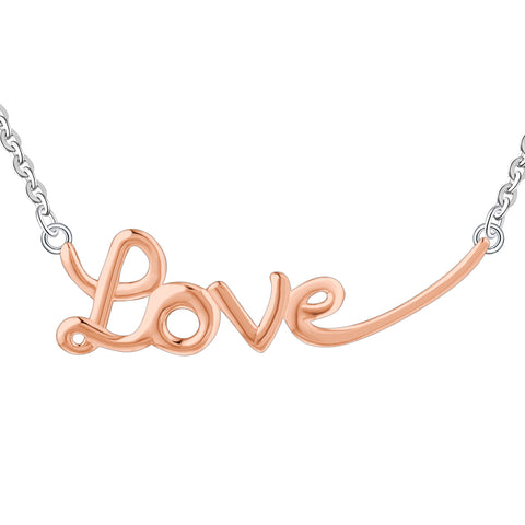 "Farjary Rose Gold Plated 925 Sterling Silver ""LOVE"" Necklace"