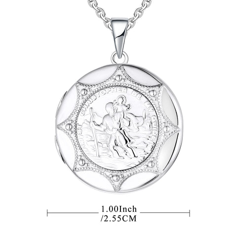 Farjary Jewelry 925 Sterling Silver St. Christopher Ronnd Locket Travelers Necklace