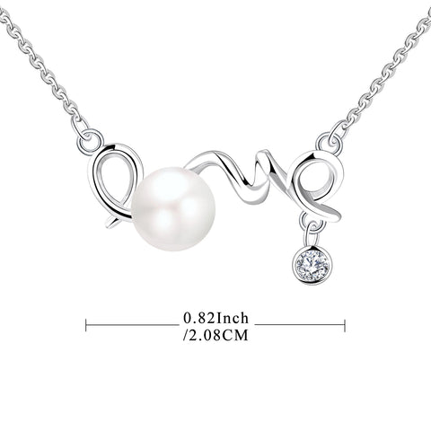 "Farjary 925 Silver Medium Letter""LOVE"" With 7MM Freshwater Pearl Necklace"