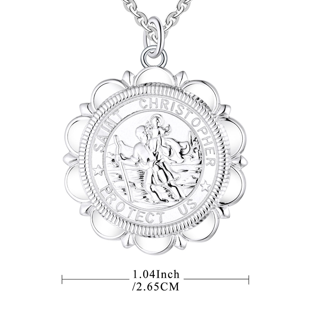 Farjary Jewelry Solid 925 Silver St. Christopher Protector of Travelers Medallion Necklace