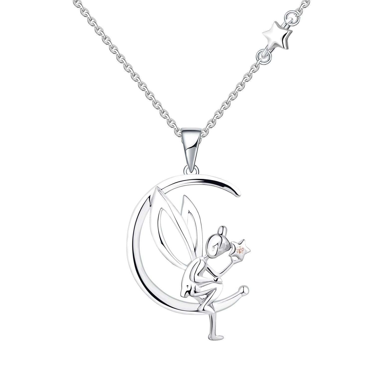Farjary 925 Silver Moon and Fairy Neckace Asymmetry Necklace for Women Ladies