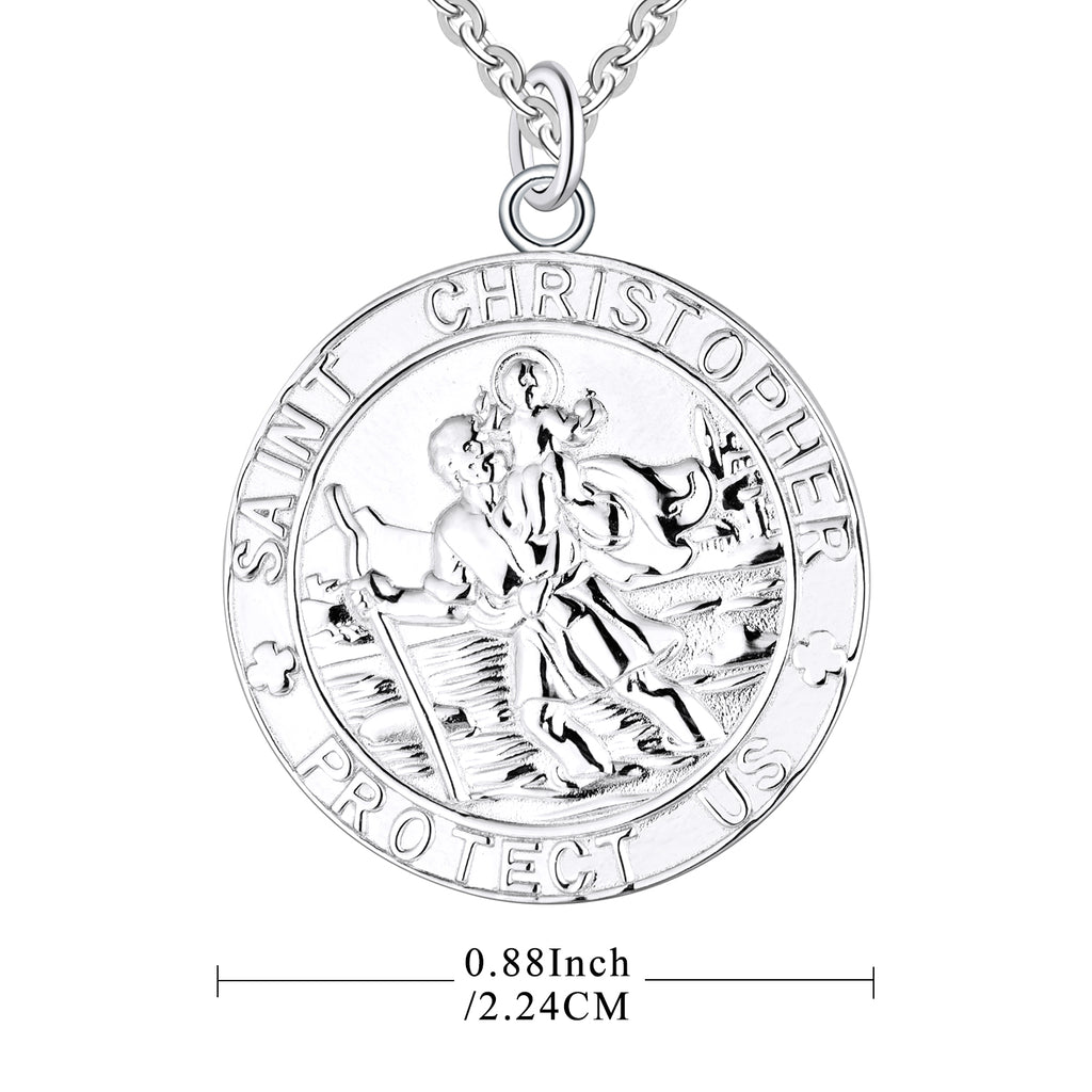 Farjary Jewelry Solid 925 Silver St. Christopher Round Coin Pendant