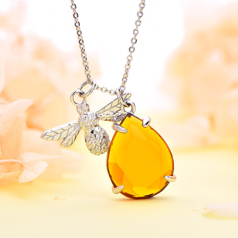 Farjary Silver HoneyBee With a Yellow Crystal Honey Pendant Necklace