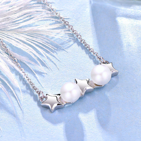 Farjary 925 Sterling Silver Adorable Star and Pearl Necklace