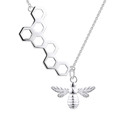 Farjary Sterling Silver Honeycomb with Little Bee Asymmetrical Necklace